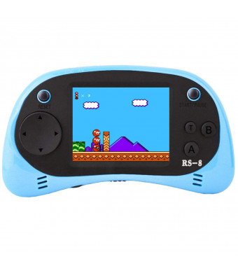 """Kids Handheld Game Console Retro Video Game Player Portable Arcade Gaming System Birthday Gift for Children Travel Recreation 2.5"""" Color LCD Screen 8 Bit 260 Classic Games (Blue)"""