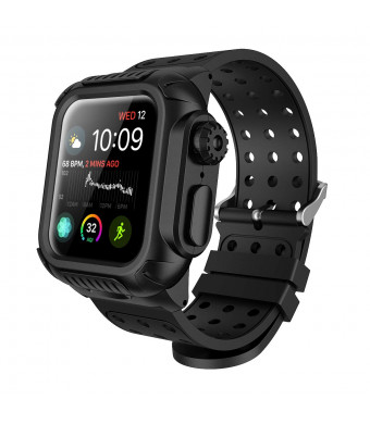 iWach 4 Case, WeLoveCase Compatible with Apple Watch 4 Case 40mm Rugged Protective Case with Strap Bands and Built-in Screen Protector for Apple Watch Series 4 40mm