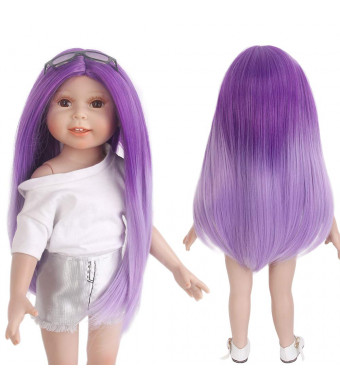 "STfantasy Doll Wig for 18"" AG OG Doll Journey Girls Gotz My Life Ombre Purple Straight Synthetic Hair Girls Gift"