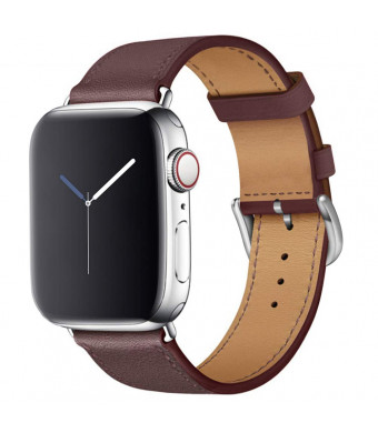 OriBear Compatible with Apple Watch Leather Band 38mm/40mm, Durable Genuine Leather Strap Band for Women Man, Same Style with Bands for Apple Watch Series 1/2/3/4 (Brown)