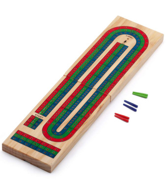 GSE Games and Sports Expert Classics 3-Track Color Coded Wooden Folding Cribbage Board