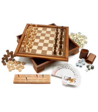 Deluxe 7-in-1 Wooden Board Game Combo Set. Includes Cards, Dice, Chess, Checkers, Backgammon, Dominoes and Cribbage