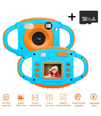 "DIWUER Kids Camera, Children Mini Video Camcorder, 1.77"" 1080P HD 5MP Toddler Digital Camera, Creative Gift for Boys Girls, 16GB SD Card Included"