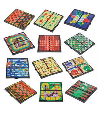 Srenta 5 Mini Magnetic Board Games, Compact Travel Design Set, Includes 12 Different Retro Board Games, Best Gift Idea for Kids,