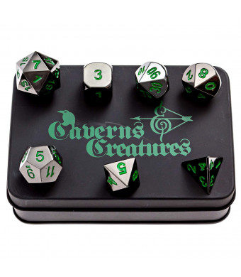 Caverns and Creatures Black Metal RPG Dice with Green Numbers in Stylish Tin Display Case