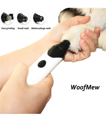 WoofMew Quiet Painless Dog Nail Grinder,Pet Nail Trimmer,Powerful Dog Nail Trimmer,Cat Claw Care Tool,Pet Nail Trimmer Grinder,Dog Nail Grooming for Small Medium Large Pets,Dog Nail Care,Easy Clean