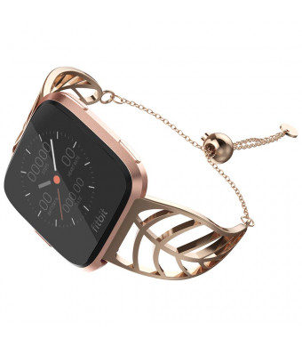 UooMoo Band Compatible with Fitbit Versa, Leaf Shape Stainless Steel Bracelet Women Replacement for Fitbit Versa Smart Watch