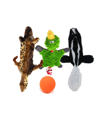 Dog No Stuffing Toy Set of 3 Plush Animals. Stuffingless Skunk + Wolf Squeaky Toys and a Duck w/ Crinkle Body and Rope for Tug. Rubber Ball for Aggressive Chewers  Small/Medium/Large Dogs - Carry Bag
