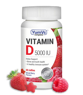 YumVs Complete Vitamin D Jellies (Gummies) 5000 IU, Mixed Berry Flavor  Strawberry and Raspberry (60 Ct); Daily Dietary Supplement for Men and Women, Chewable, Vegetarian, Kosher, Halal, Gluten Free