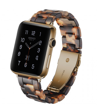 CSVK Resin Band for Apple Watch Band 38mm 40mm Men Women Compatible with iWatch Series 4 3 2 1 Band, Replacement Lightweight Waterproof Strap with Stainless Steel Buckle