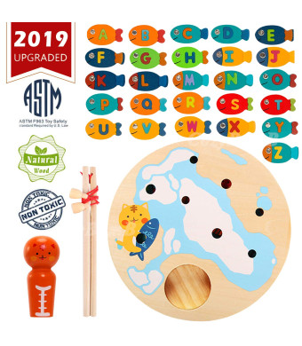 Magnetic Wooden Fishing Game Toy for Toddlers by CozyBomB - Alphabet Fish Catching Counting Board Games Toys for 2 3 4 Year Old Girl Boy Kids Birthday STEM Learning Education Math with Magnet Poles