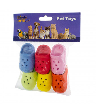 Birds LOVE 6 pk 1-Grommet only Mini Sneakers Shoes or Rubber Sandal Toys for Birds, Cats, Ferrets, Rabbits, Guinea Pigs and Small Animals