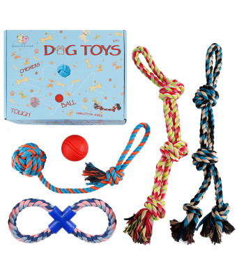 XL Dog Rope Toy for Aggerssive Chewers  100% Cotton Tough Ropes Toy for Large and Medium Dogs  Elastic Solid Dog Ball Tough Tug of War Rope Ball for Chewing and Teething with Beautiful Gift Box