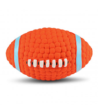 Love Pet Home Dog Chew Toys - Interactive and Chewing Durable Latex Balls Toys - Durable Dog Squeaky Rugby Chew Textured Toy for Small Medium Large Dogs - Nontoxic Squeak Chew Ball Toy