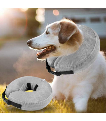Fancar Protective Inflatable Cone Collar for Dogs and Cats - Adjustable Soft Pet Recovery E-Collar, Not Block Vision E-Collar (Grey, L)