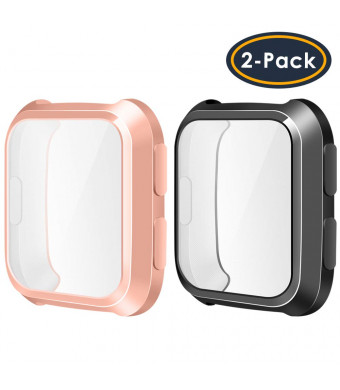 QIBOX Compatible Fitbit Versa Screen Protector Case, 2-Pack TPU Rugged Bumper Case Cover All-Around Protective Plated Bumper Shell [Scratch-Proof] Compatible Fitbit Versa Smartwatch, Rosegold+Black