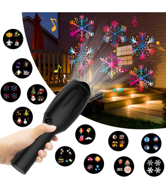 XBUTY Holiday Handheld Projector Lights, Christmas Music Led Projector Flashlight Gifts for Kids, 12 Slides for Different Holiday/Scene