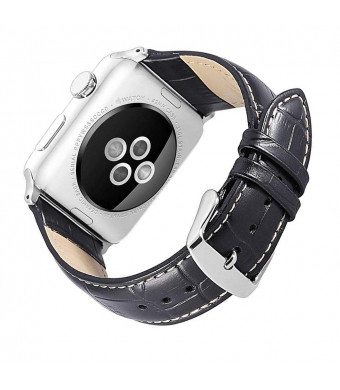 YOFUNTLE Compatible for Apple Watch Band 42mm 44mm,Alligator Grain Replacement Wrist Bands Genuine Leather Strap Compatible for Apple iWatch Series 4 44mm Series 3/2/1 42mm (Black)