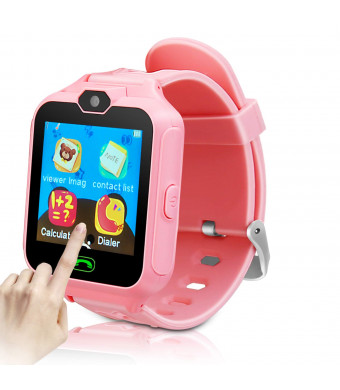 Kids Smart Phone Watch for Girls Boys Children 2 Way Call 1.4'' HD Touch Screen Camera Game Digital Gizmo Learning Cellphone Wrist Watch for Birthday Holiday Cool Toys Smartwatches Gifts (Pink)