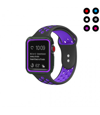Compatible with Apple Watch Band with Case 42mm 44mm Vitech Soft Silicone Sport iWatch Band with Shock-Proof Protective Case for Series 3/2/1 (42mm) Series 4 (44mm) (Black-Purple, 42mm/44mm M/L)
