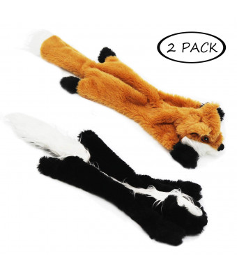 No Stuffing Dog Toys with Squeakers, Dog Plush Toys Fox and Skunk Fur Toys for Small Medium Large Dog Pets