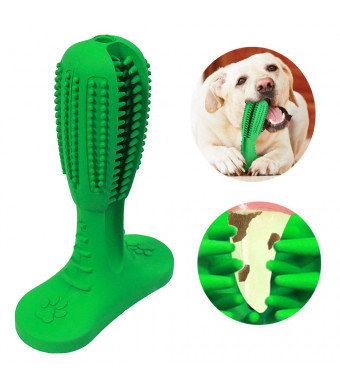 Bibolin [Upgrade Version] Dog Toothbrush Stick Dental Care Brushing Stick Effective Doggy Teeth Cleaning Massager Nontoxic Natural Rubber Resistant Chew Toys for Dogs Pets