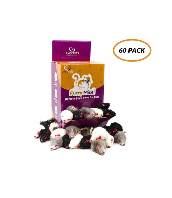 AXEL PETS 60 Furry Mice with Catnip and Rattle Sound Made of Real Rabbit Fur Interactive Catch Play Mouse Toy for Cat, Box of 60 Mice