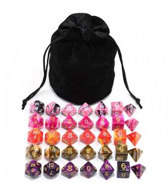 Assorted 5 Colors Polyhedral Dice Set for Dungeons and Dragons RPG MTG Table Games with Black Drawstring Pouch