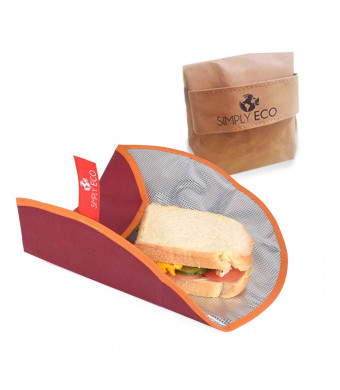 "Simply Eco Washable paper Reusable food wrap for sandwich and snack bags for lunch. Foodsaver bags and reusable plastic wrap alternative. Large wrap for food storage, 15.5"" diameter with aluminum layer"
