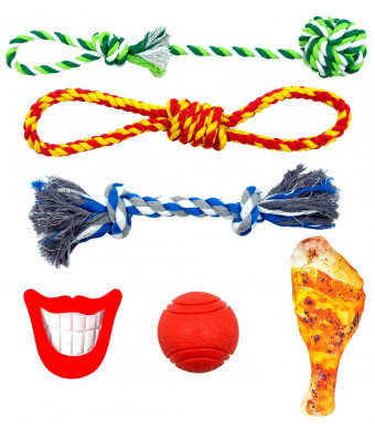 FAYOGOO Dog Chew Toys, Dog Rope Toys Puppy Pet Teething Toys Including Dog Ropes Toys, Indestructible Dog Ball and Squeaky Toy for Playtime and Teeth Cleaning