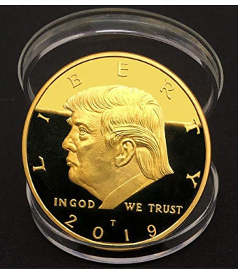 The Official 2019 Gold Donald Trump Commemorative Coin - Authentic 24k Gold Collectible Coin of 45th United States President - Republican Collectibles Challenge Memorabilia Gift [CASE Included]