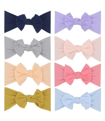 2019 New Baby Super Stretchy Nylon Knotted Headbands Baby Head Wraps Baby Headbands Bows