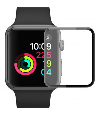 iWatch Screen Protector for Series 1/Series 2/Series 3 [38mm 2pack] Tempered Glass Black-Edge HD-Clear Apple Watch Screen Protector Anti-Scratch Bubble-Free