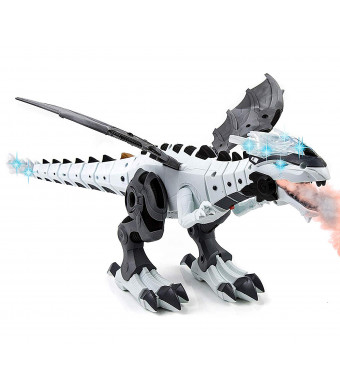 Toysery Mist Spray Dinosaur Robot Toy for Kids - Walking Dinosaur Fire Breathing Water Spray Mist with Red Light and Realistic Sounds (Colors May Vary)