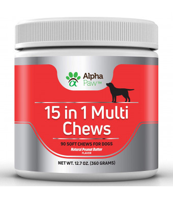 Alpha Paw 15 in 1 Dog Multivitamin with Glucosamine and Chondroitin + MSM + Probiotics - Joint and Immune System Health, Anti-Inflammatory, Antioxidant - 360 gm Approx. 90 Soft Chews