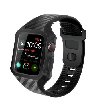 Tensea Compatible with Apple Watch 4 Case 44mm, Soft TPU Bumper Protector with Strap Band Replacement for Men Women iWatch Apple Watch Series 4