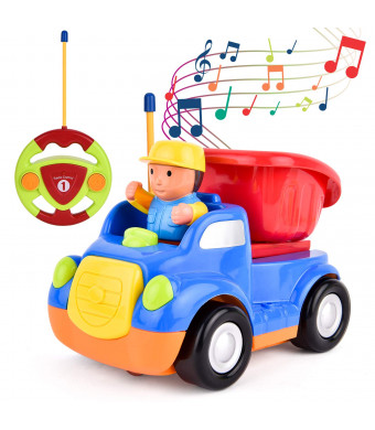 ROOYA BABY Remote Control Car RC Cartoon Car Easy Control with Music and Light, Radio Control Car Removable Driver Birthday Gift for Kids Toddlers Unisex-Children (Blue Dump Truck)
