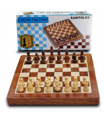 Magnetic Chess Set,Wooden Travel Chess Set,Magnetic with Folding Chess Board Educational Toys