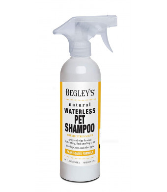 Begley's Natural Waterless Pet Shampoo - No Rinse Foam Mousse for Bathless Cleaning and Deodorizing of Pet Coat and Removing Odors - Effective for Dogs, Puppies, and Cats