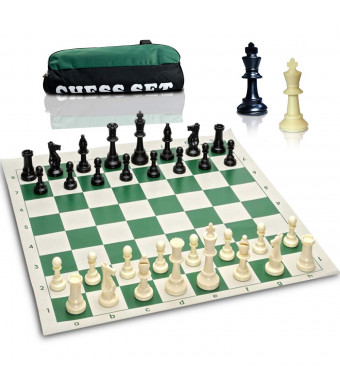 Best Value Tournament Chess Set - Triple Weighted Chess Set Combo - Filled Chess Pieces and Green Roll-Up Chess Board