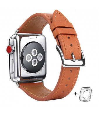 Compatible iWatch Band 38mm 40mm, Top Grain Leather Band Replacement Strap iWatch Series 4,Series 3,Series 2,Series 1,Sport, Edition (Brown Band+ Silver Buckle, 38mm 40mm)