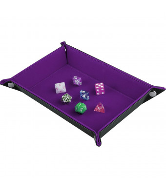 SIQUK Double Sided Dice Tray, Folding Rectangle PU Leather and Dark Violet Velvet Dice Holder for Dungeons and Dragons RPG Dice Gaming DandD and Other Table Games