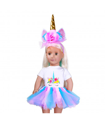 Dolls Unicorn Clothes, Unicorn Headband, Rainbow Tutu for 18inch Dolls Like American Girl, Journey Girl Dolls, Our Generation Dolls Accessories - Outfits, Horn and Costume Great Gifts for Girls