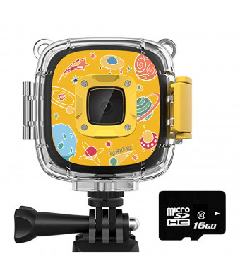 Rosefray Kids Camera1080P HD Kids Action Camera, 30m Waterproof Video Camera, Sports Camcorder for Boys and Girls, 16GB SD Card, Yellow