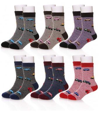 Eocom 6 Pairs Children's Winter Warm Wool Socks Kids Boys Girls Socks