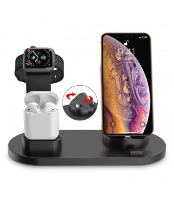 UPWADE Charging Stand for Apple Watch Charger Stand iPhone AirPods, Dock Station for AirPods Stand Charging Docks Holder, Support for Apple Watch/AirPods/iPhone Xs/X Max/XR/X/8/8Plus/7/6S Plus