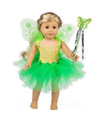 ZITA ELEMENT Fairy American 18 Inch Doll Clothes Accessories | Costume Tutu Angel Wings and Magic Wand for 16 - 18 Inch Girl Doll Outfits | Fancy Gift for Kids Girl Doll Outfits | Nice Gift for Kids