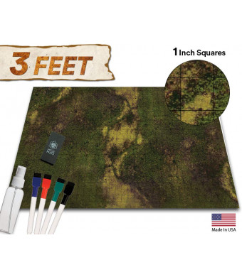 Battle Grid Game Mat - 36x24 Table Top Role Playing Map - DND Role Play - RPG Dungeons and Dragons Maps Tiles - Reusable Miniature Figure Board Games - Tabletop Gaming Mats (Dark Moss)