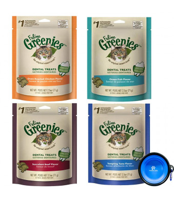 Greenies Feline Dental Treats for Cats 4 Pack Variety Bundle - Chicken,Ocean Fish,Tuna,and Beef Flavors (2.5 Oz Each Bag) with Hotspot Pets Collapsible Travel Bowl
