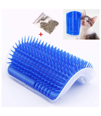 Fast and Good Cat Self Groomer Brush + Catnip- Cat Wall Corner Massage Grooming Comb Toy to Control Shedding Fur and Itching for Cat Dog Pet